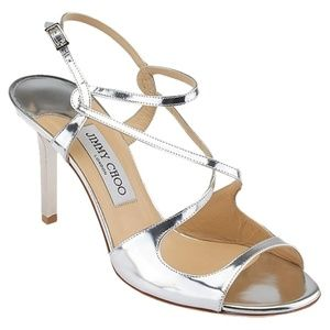 Jimmy Choo Paxton Silver Mirror Sandal Heels $800
